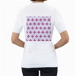 ROYAL1 WHITE MARBLE & PINK DENIM Women s T-Shirt (White) (Two Sided) Back