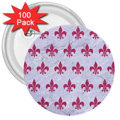 Royal1 White Marble & Pink Denim 3  Buttons (100 Pack)