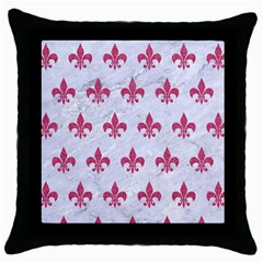 Royal1 White Marble & Pink Denim Throw Pillow Case (black) by trendistuff