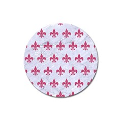 Royal1 White Marble & Pink Denim Magnet 3  (round)
