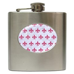 Royal1 White Marble & Pink Denim Hip Flask (6 Oz) by trendistuff