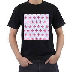 Royal1 White Marble & Pink Denim Men s T Shirt (black) (two Sided)