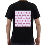 ROYAL1 WHITE MARBLE & PINK DENIM Men s T-Shirt (Black) (Two Sided) Back