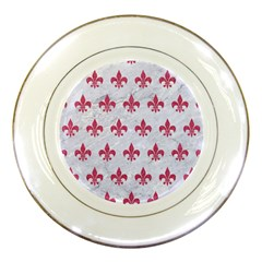 Royal1 White Marble & Pink Denim Porcelain Plates by trendistuff