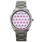 ROYAL1 WHITE MARBLE & PINK DENIM Sport Metal Watch Front