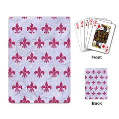 Royal1 White Marble & Pink Denim Playing Card by trendistuff
