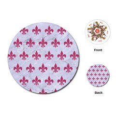 Royal1 White Marble & Pink Denim Playing Cards (round)