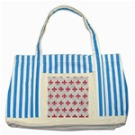 ROYAL1 WHITE MARBLE & PINK DENIM Striped Blue Tote Bag Front