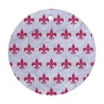 ROYAL1 WHITE MARBLE & PINK DENIM Round Ornament (Two Sides) Front