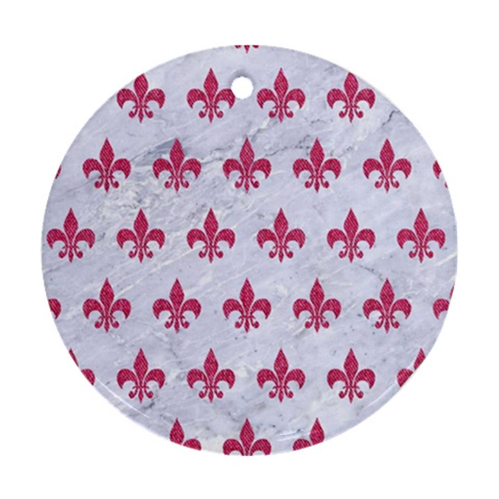 ROYAL1 WHITE MARBLE & PINK DENIM Round Ornament (Two Sides)