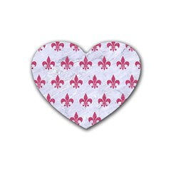 Royal1 White Marble & Pink Denim Heart Coaster (4 Pack)  by trendistuff