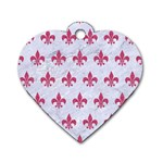 ROYAL1 WHITE MARBLE & PINK DENIM Dog Tag Heart (Two Sides) Front
