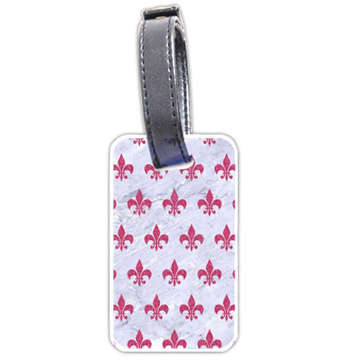 ROYAL1 WHITE MARBLE & PINK DENIM Luggage Tags (Two Sides)
