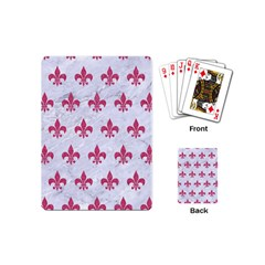 Royal1 White Marble & Pink Denim Playing Cards (mini)  by trendistuff