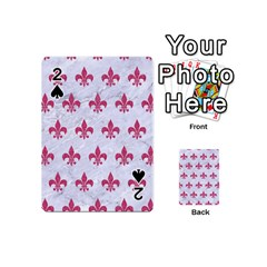 Royal1 White Marble & Pink Denim Playing Cards 54 (mini)  by trendistuff