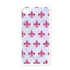 Royal1 White Marble & Pink Denim Apple Iphone 4 Case (white) by trendistuff