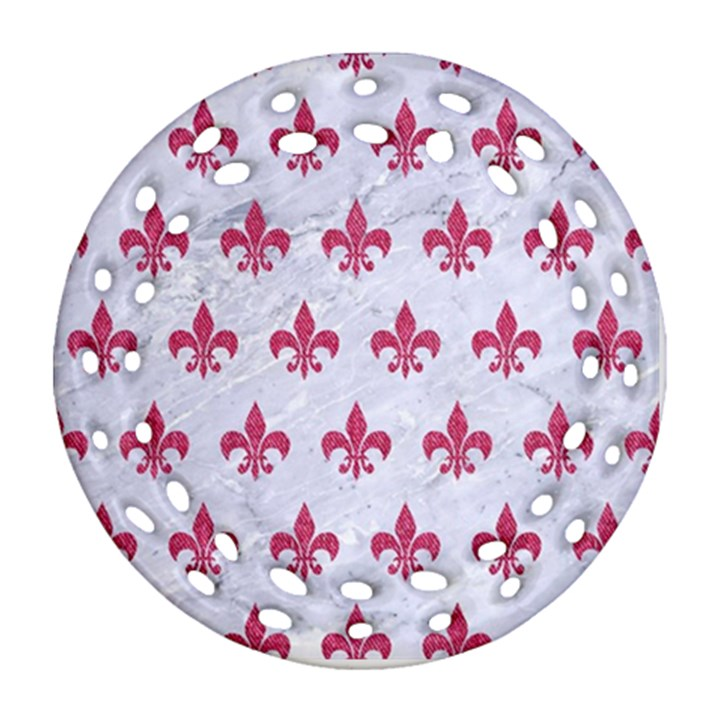 ROYAL1 WHITE MARBLE & PINK DENIM Round Filigree Ornament (Two Sides)