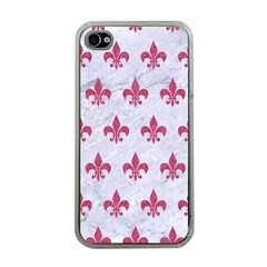 Royal1 White Marble & Pink Denim Apple Iphone 4 Case (clear) by trendistuff