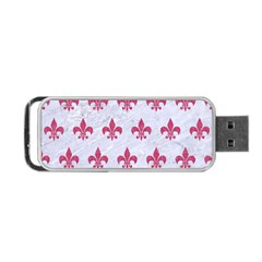 Royal1 White Marble & Pink Denim Portable Usb Flash (one Side) by trendistuff