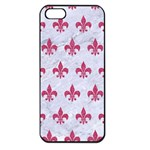 ROYAL1 WHITE MARBLE & PINK DENIM Apple iPhone 5 Seamless Case (Black) Front