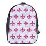 ROYAL1 WHITE MARBLE & PINK DENIM School Bag (XL) Front