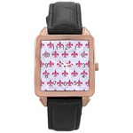ROYAL1 WHITE MARBLE & PINK DENIM Rose Gold Leather Watch  Front