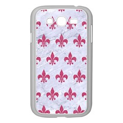 Royal1 White Marble & Pink Denim Samsung Galaxy Grand Duos I9082 Case (white) by trendistuff