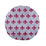 ROYAL1 WHITE MARBLE & PINK DENIM Standard 15  Premium Flano Round Cushions Back