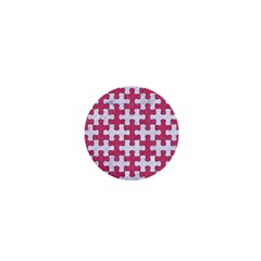 Puzzle1 White Marble & Pink Denim 1  Mini Buttons