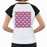 PUZZLE1 WHITE MARBLE & PINK DENIM Women s Cap Sleeve T Back