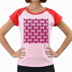 Puzzle1 White Marble & Pink Denim Women s Cap Sleeve T Shirt