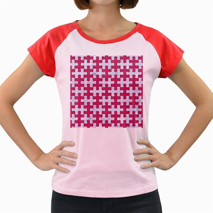 PUZZLE1 WHITE MARBLE & PINK DENIM Women s Cap Sleeve T-Shirt