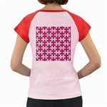 PUZZLE1 WHITE MARBLE & PINK DENIM Women s Cap Sleeve T-Shirt Back