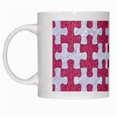 Puzzle1 White Marble & Pink Denim White Mugs