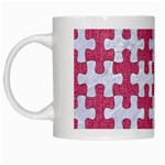 PUZZLE1 WHITE MARBLE & PINK DENIM White Mugs Left
