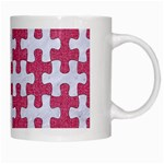 PUZZLE1 WHITE MARBLE & PINK DENIM White Mugs Right