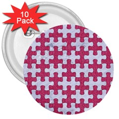 Puzzle1 White Marble & Pink Denim 3  Buttons (10 Pack)  by trendistuff