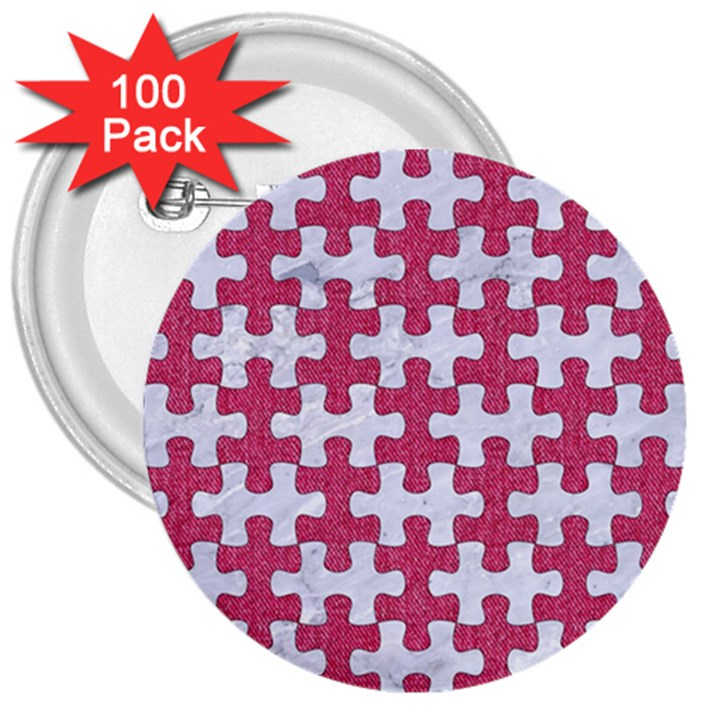 PUZZLE1 WHITE MARBLE & PINK DENIM 3  Buttons (100 pack)