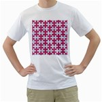 PUZZLE1 WHITE MARBLE & PINK DENIM Men s T-Shirt (White) (Two Sided) Front