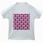 PUZZLE1 WHITE MARBLE & PINK DENIM Kids White T-Shirts Back