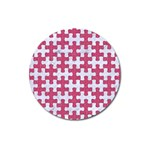 PUZZLE1 WHITE MARBLE & PINK DENIM Magnet 3  (Round) Front