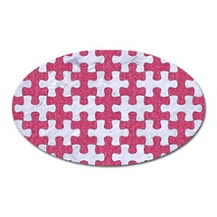 Puzzle1 White Marble & Pink Denim Oval Magnet
