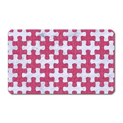 Puzzle1 White Marble & Pink Denim Magnet (rectangular)