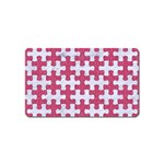 PUZZLE1 WHITE MARBLE & PINK DENIM Magnet (Name Card) Front