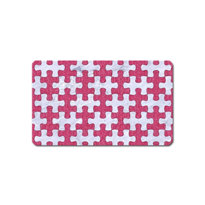 PUZZLE1 WHITE MARBLE & PINK DENIM Magnet (Name Card)