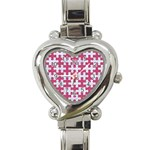 PUZZLE1 WHITE MARBLE & PINK DENIM Heart Italian Charm Watch Front