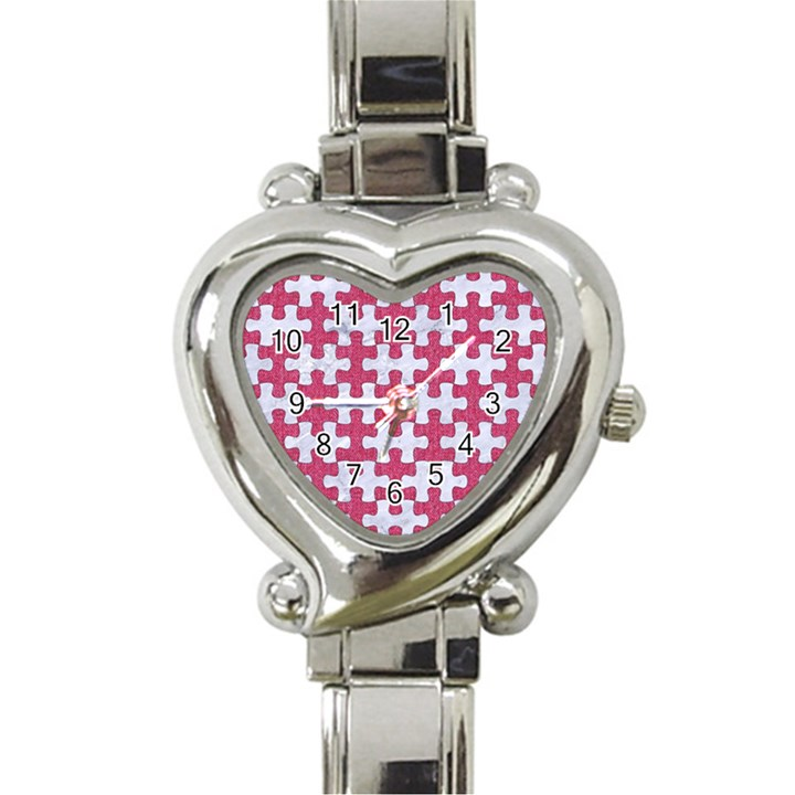 PUZZLE1 WHITE MARBLE & PINK DENIM Heart Italian Charm Watch