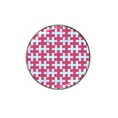 Puzzle1 White Marble & Pink Denim Hat Clip Ball Marker