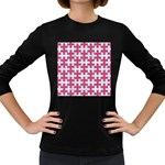 PUZZLE1 WHITE MARBLE & PINK DENIM Women s Long Sleeve Dark T-Shirts Front