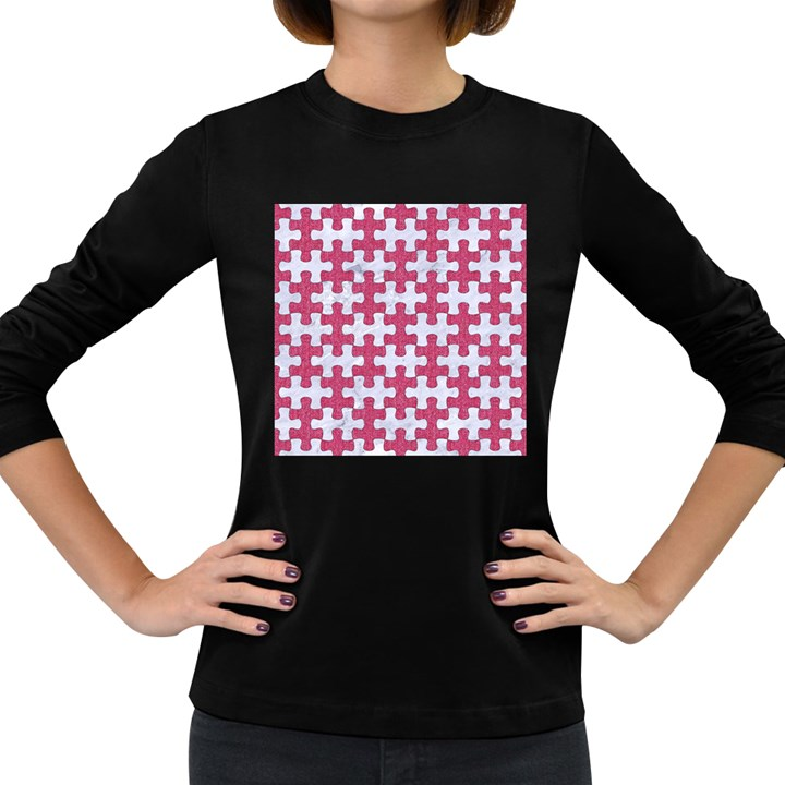 PUZZLE1 WHITE MARBLE & PINK DENIM Women s Long Sleeve Dark T-Shirts